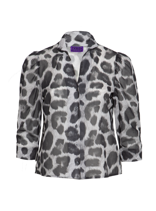Spot on Sleeve Blouse, Leo Grey