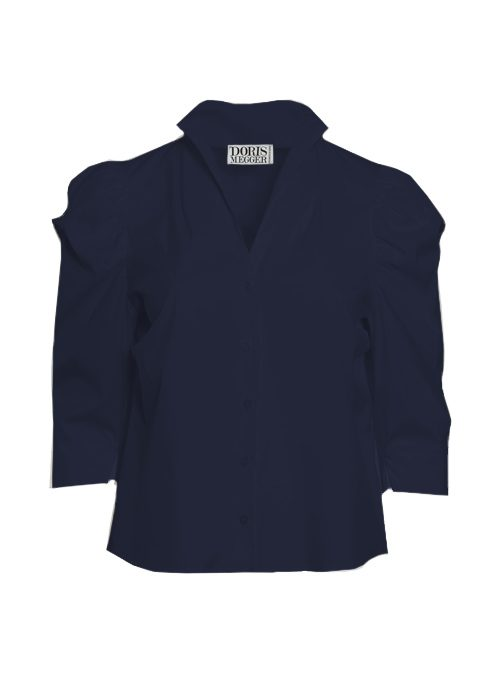 Spot on Sleeve Blouse, Midnight Blue