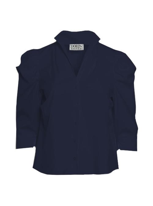 Spot on Sleeve Blouse, Midnight Blue