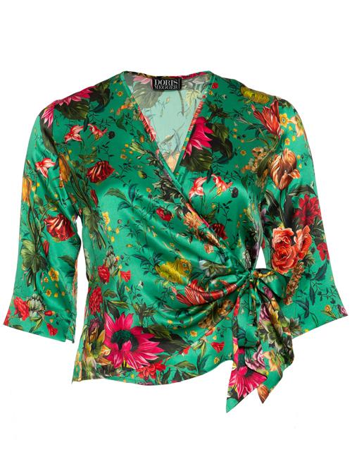 Silk Wrap Blouse Gina, Turquoise