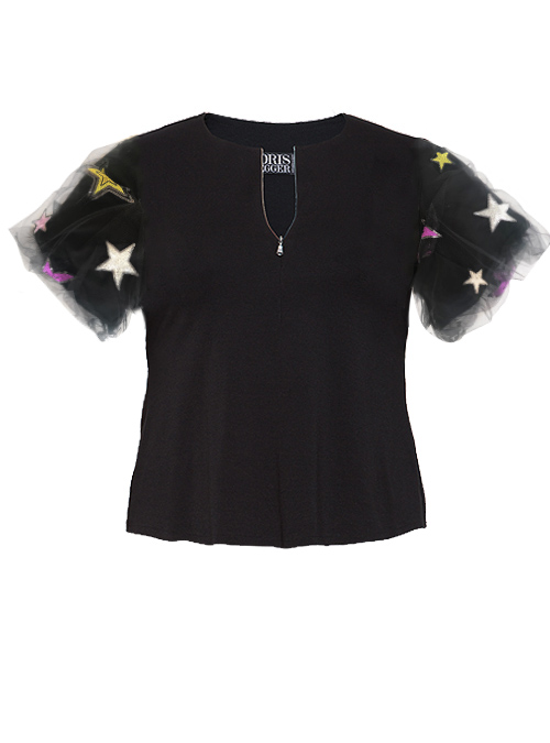 Sway Cropped Shirt, Front Zip, Catching stars