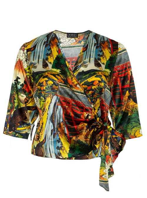 Silk Wrap Blouse Gina, Multicolore