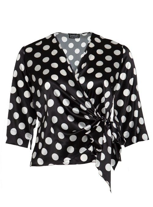 Silk Wrap Blouse Gina, Dots