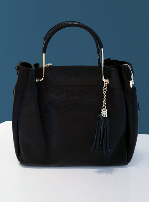 Tote Bag, Tassels, Black and Gold