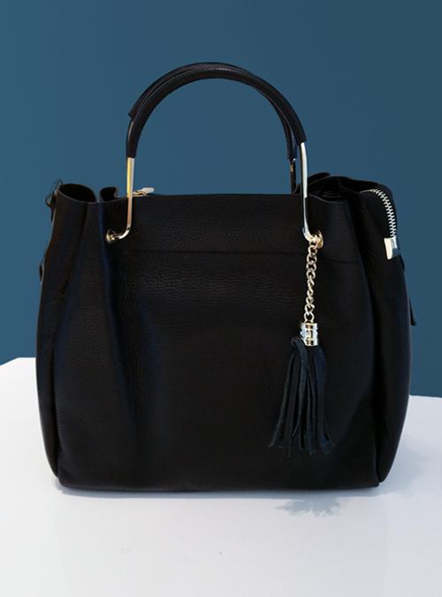 Tote Bag, Tassels, Black and Gold