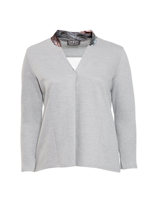 Silk and Cotton Pull-Shirt, Light Grey