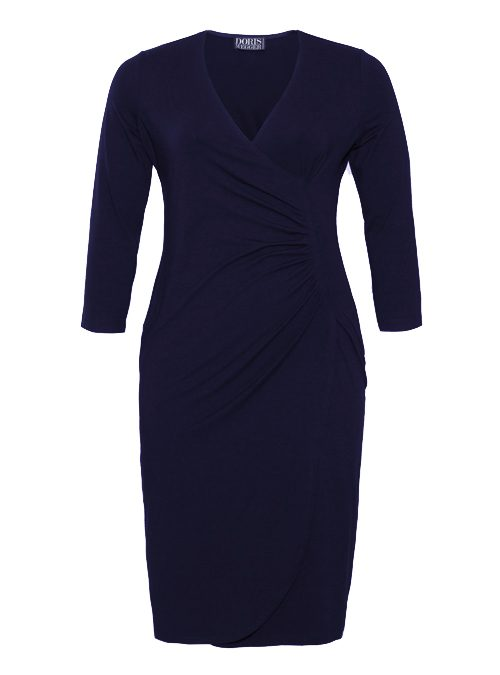 Curvy Wrap Dress, Dark Blue, Jersey
