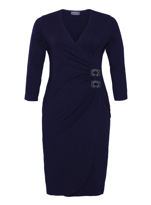 Curvy Wrap Dress, Dark Blue, Jersey