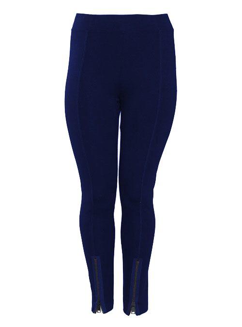 Slim Cut Zip Pants, Navy Blue