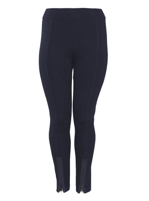 Slim Cut Zip Pants, Navy Blue