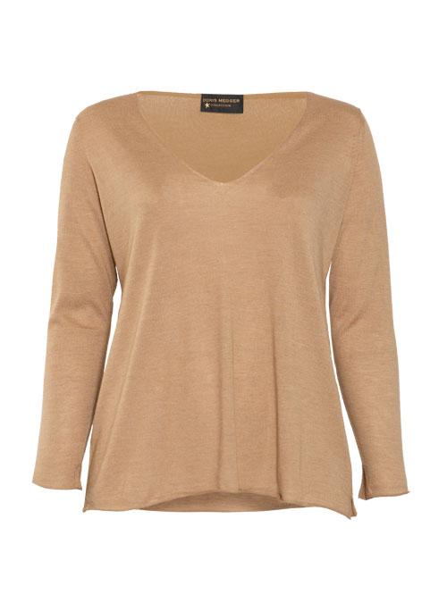 Cashmere Silk Pullover V-Neck, Filati Loro Piana, Caramel