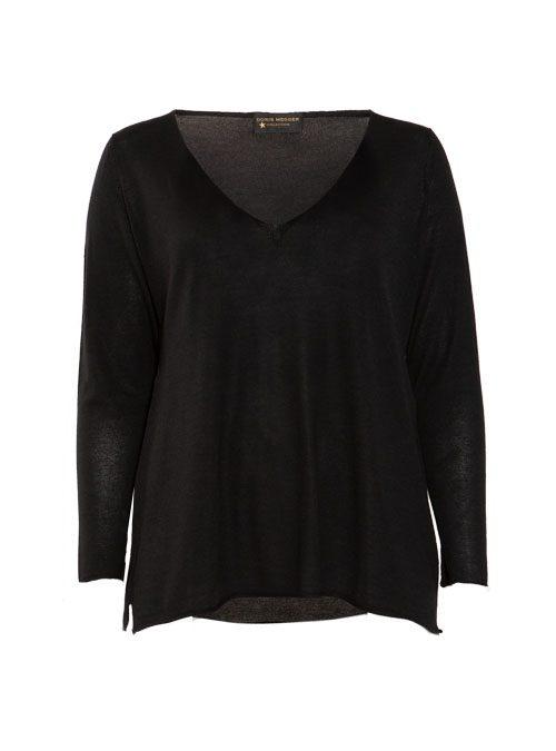 Cashmere Silk Pullover V-Neck, Filati Loro Piana, Pure Black