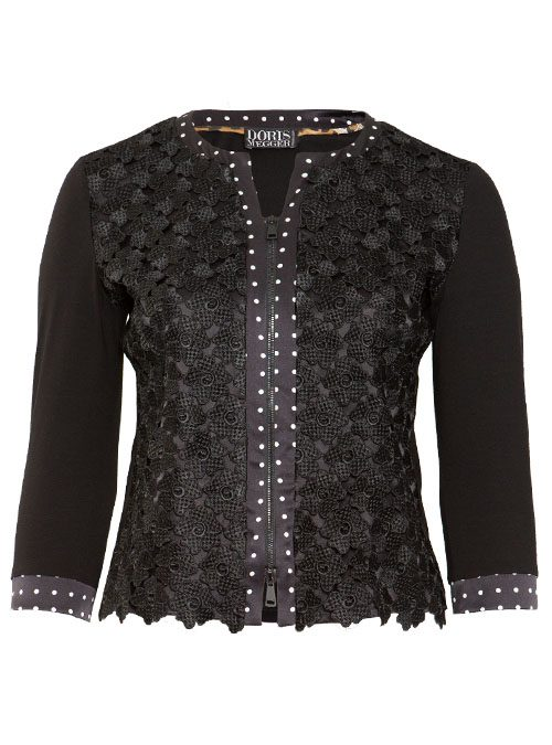 Blousia, Zip, Pretty in Black, Embroidered Silk