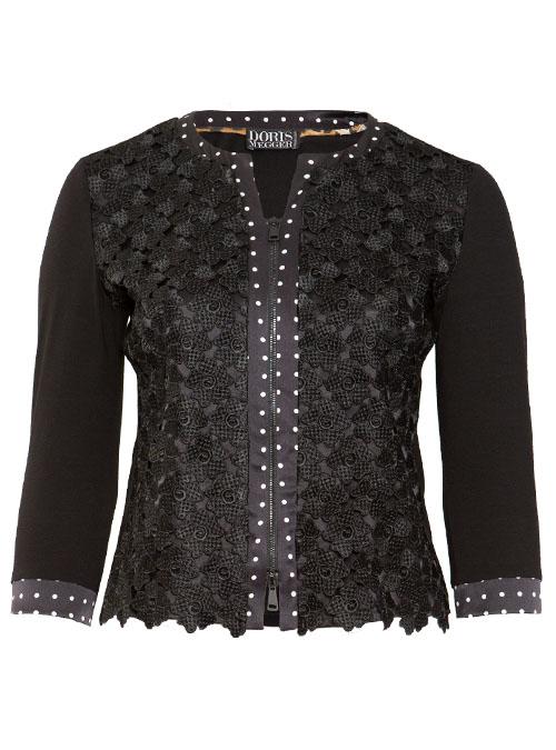 Blousia, Zip, Pretty in Black, Embroidered Silk