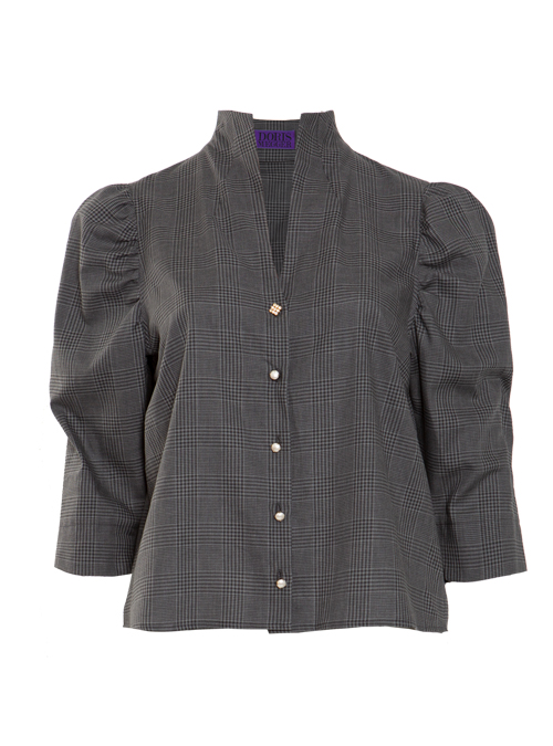 Spot on Sleeve Blouse, Chequered grey