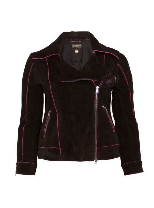 Velours Bikerjacke, Iconic Cut, Neon Pink and Black