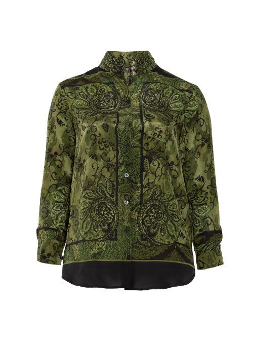 Style Blouse, Long back, Silk, Green and Black