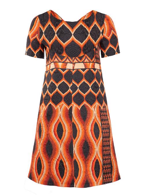Gracia Dress, Relief Print, Silk Lining