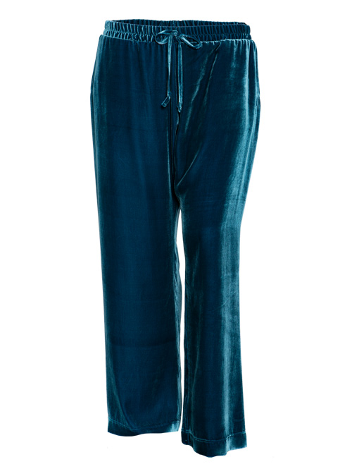Velvet Pants, Wide Leg, Deep Teal