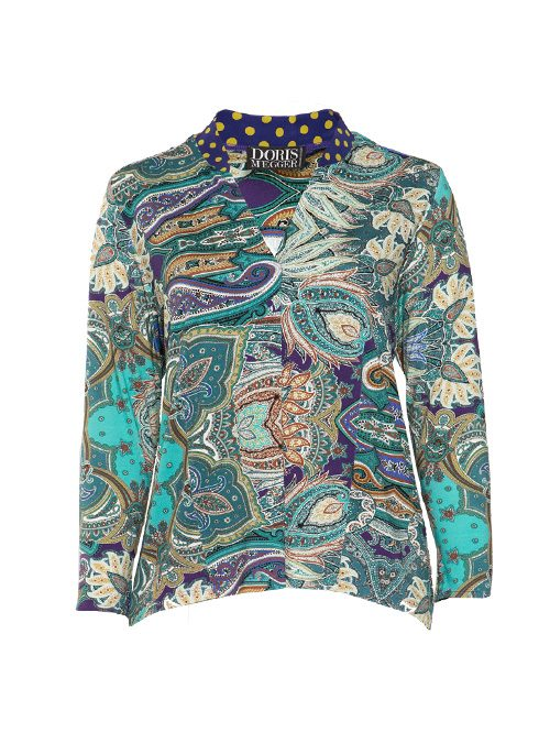Silk and Jersey Pull-Shirt, Delicate Paisley