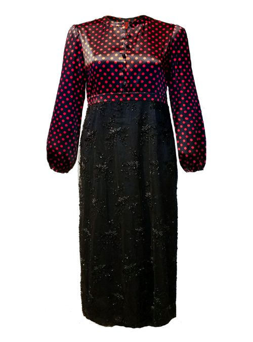 Glam Fusion Luxury Dress, Midi Length, Crimson Dots