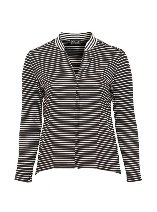 Jerseyfusion Pull-Shirt, Italian stripes, Black