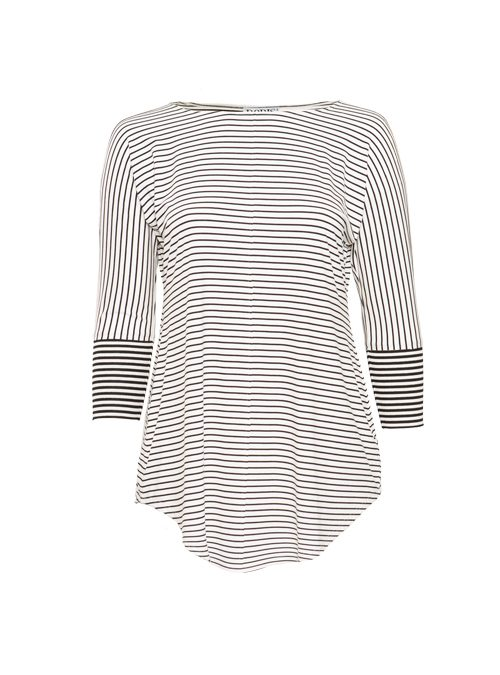 Boatneck Shirt, Italian stripes, Ivory