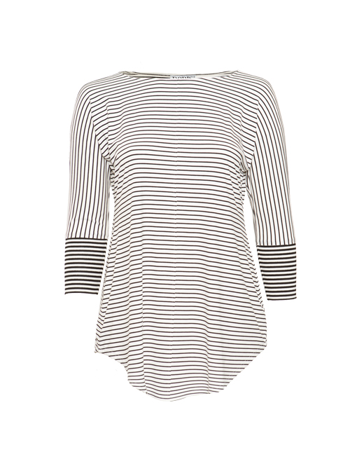 Boatneck Shirt, Italian stripes, Ivory