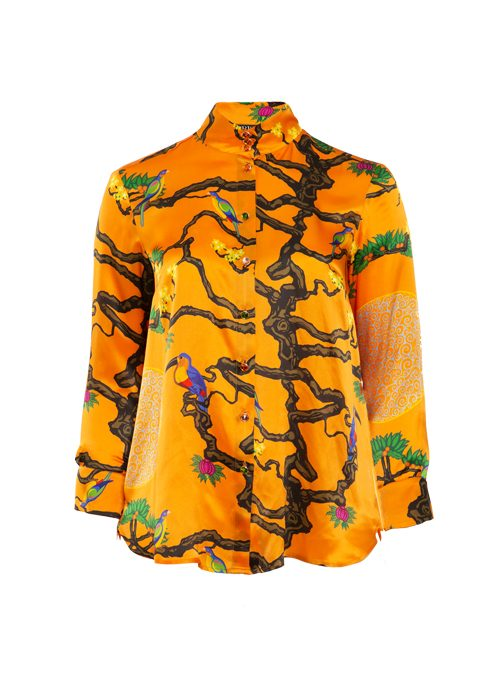 Style Blouse, Silk, Extraordinary Orange