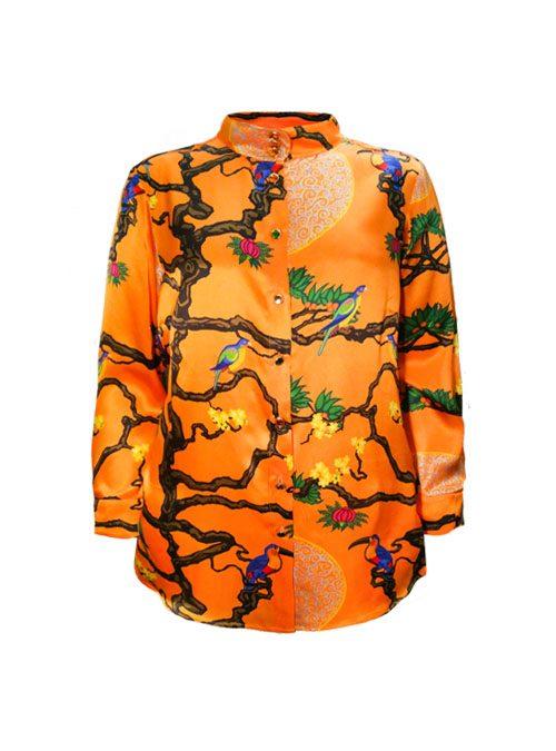 Style Blouse, Silk, Extraordinary Orange
