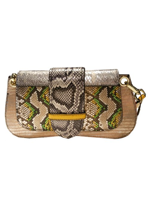 Colorblocking Bag, Silver Snake