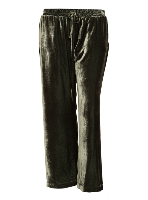 Velvet Pants, Wide Leg, Tuscany Olive