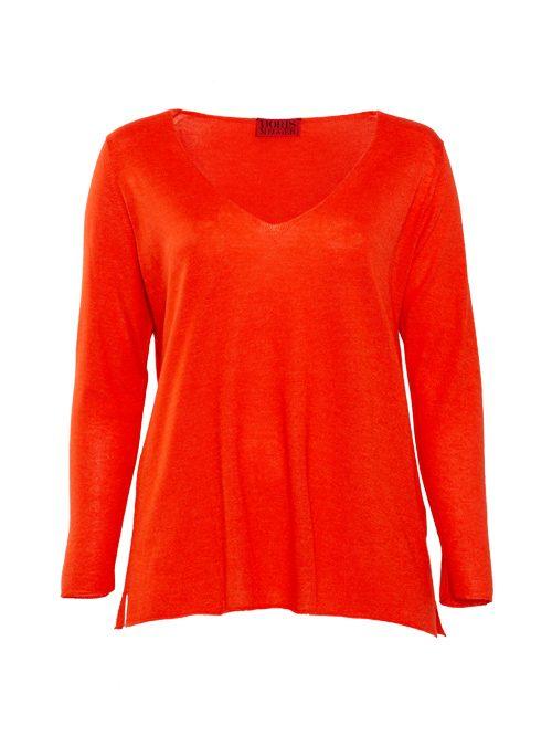 Cashmere Silk Pullover V-Neck, Filati Loro Piana, Flame