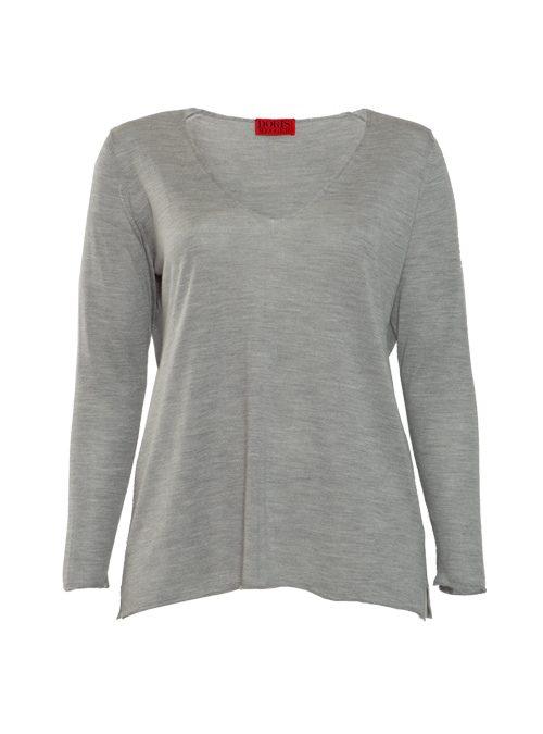 Cashmere Silk Pullover V-Neck, Filati Loro Piana, Argento Melange
