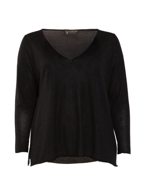 Layer Pullover, Cashmere and Silk V-Neck, Pure Black