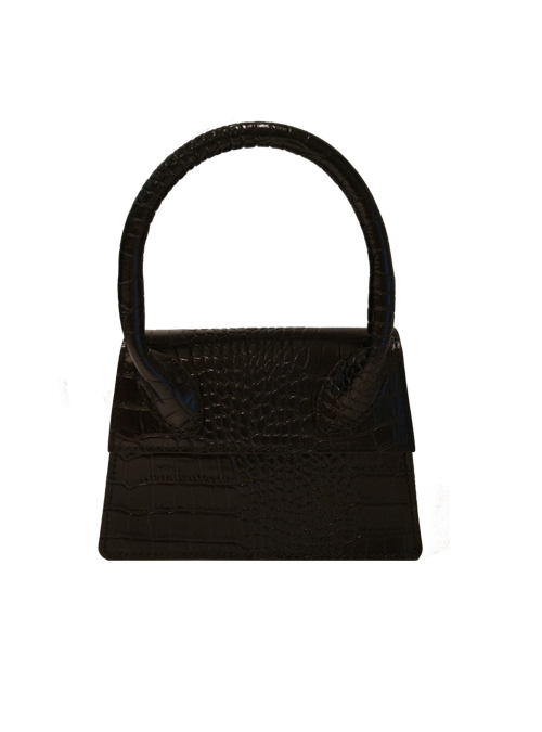 Mini Croc-effect Bag, Crossbody, Black