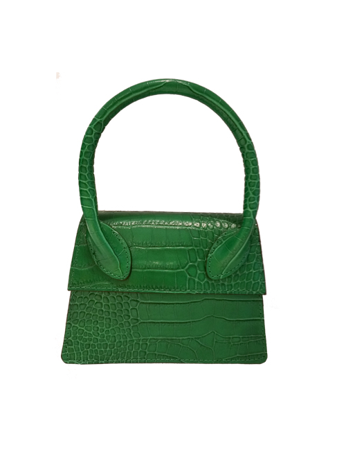 Mini Croc-effect Bag, Crossbody, Emerald