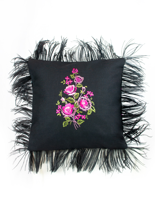 Diva Cushion, Embroidery and Feathers