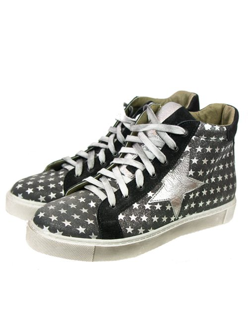 High Sneaker, Dark Grey, Silver Stars