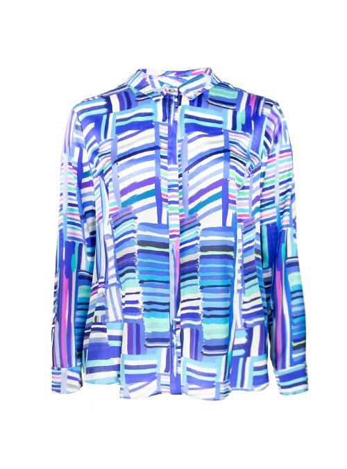 Silk Hemdbluse, Blue Stripes