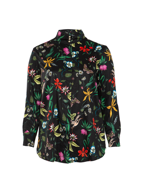 Style Blouse, Stretchcotton, Flowery Black