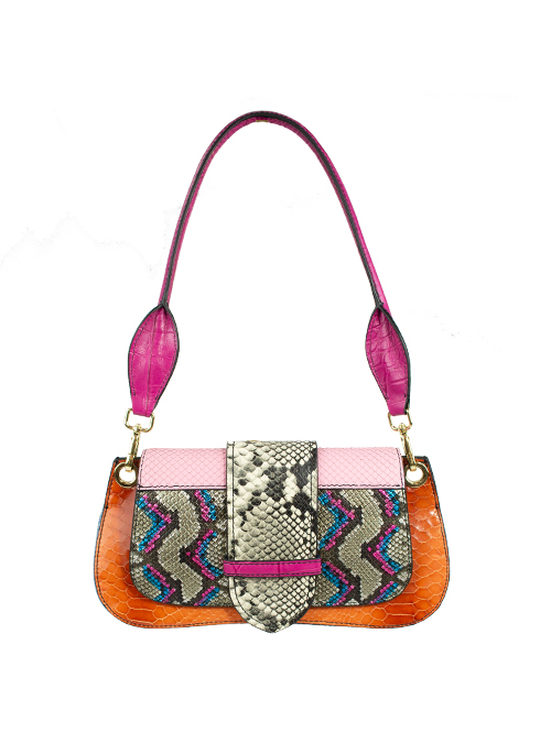 Colorblocking Bag, Neon Snake