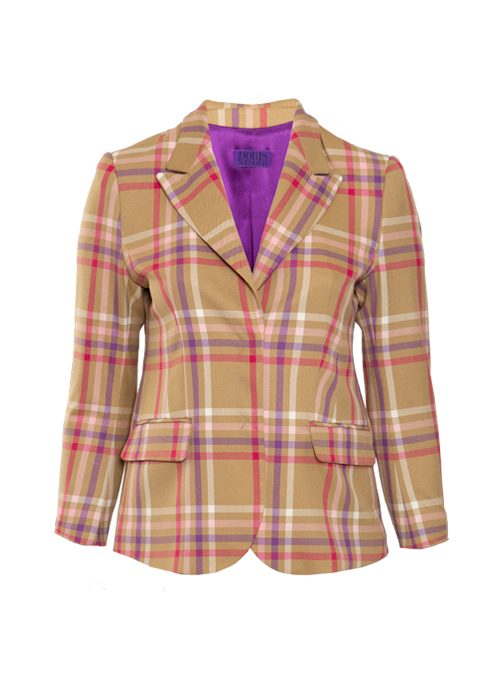 Atelier Blazer, Tailored, Tan and mauve