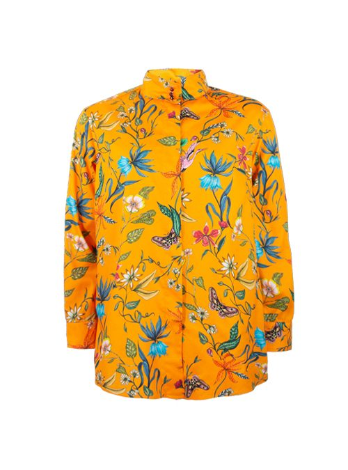 Style Blouse, Printed, Flowery orange