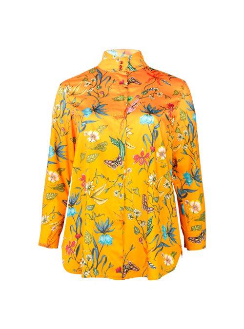 Style Blouse, Printed, Flowery orange
