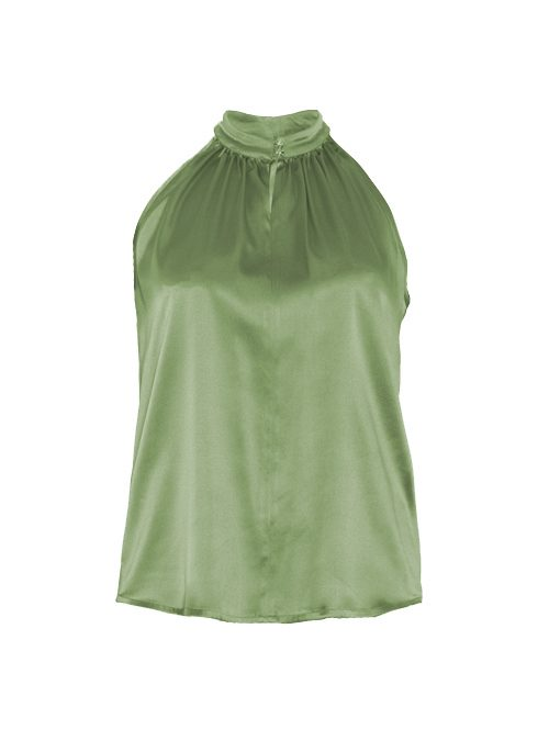 Silk Highneck Top, Olive, Shiny Buttons