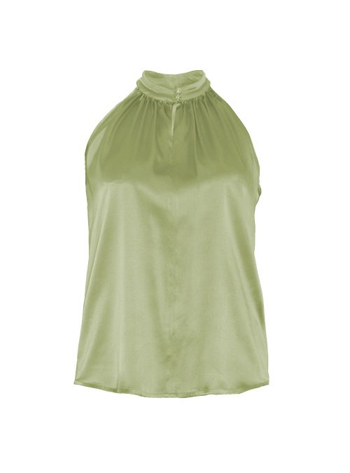 Silk Highneck Top, Lime, Shiny Buttons