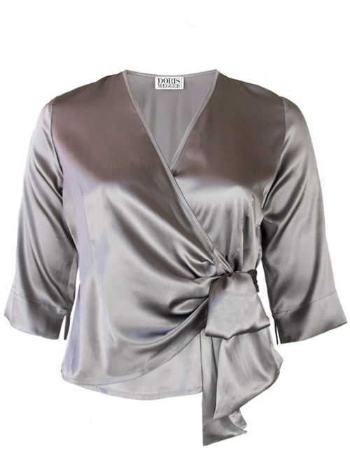 Silk Wrap Blouse Gina, Sleek Silver