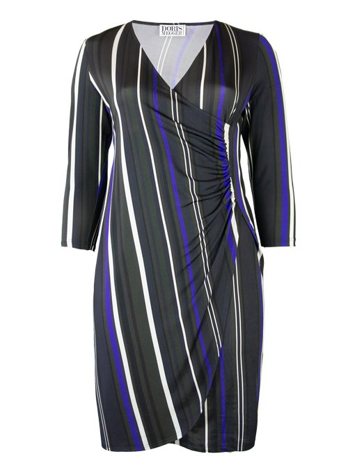 Curvy Wrap Dress Deluxe, Wide stripes
