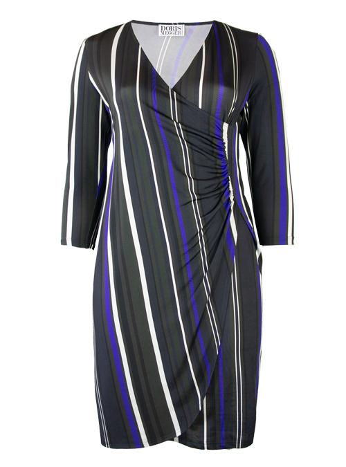 Curvy Wrap Dress Deluxe, Wide stripes